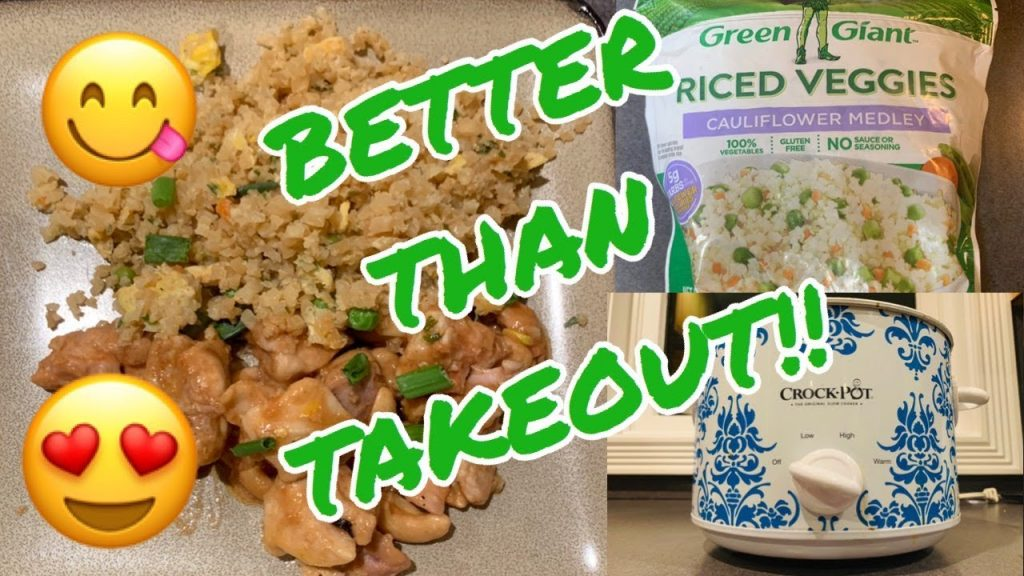 HOMEMADE HEALTHY CHINESE FOOD!!  CROCKPOT CHICKEN & CASHEWS W/ CAULIFLOWER FRIED RICE