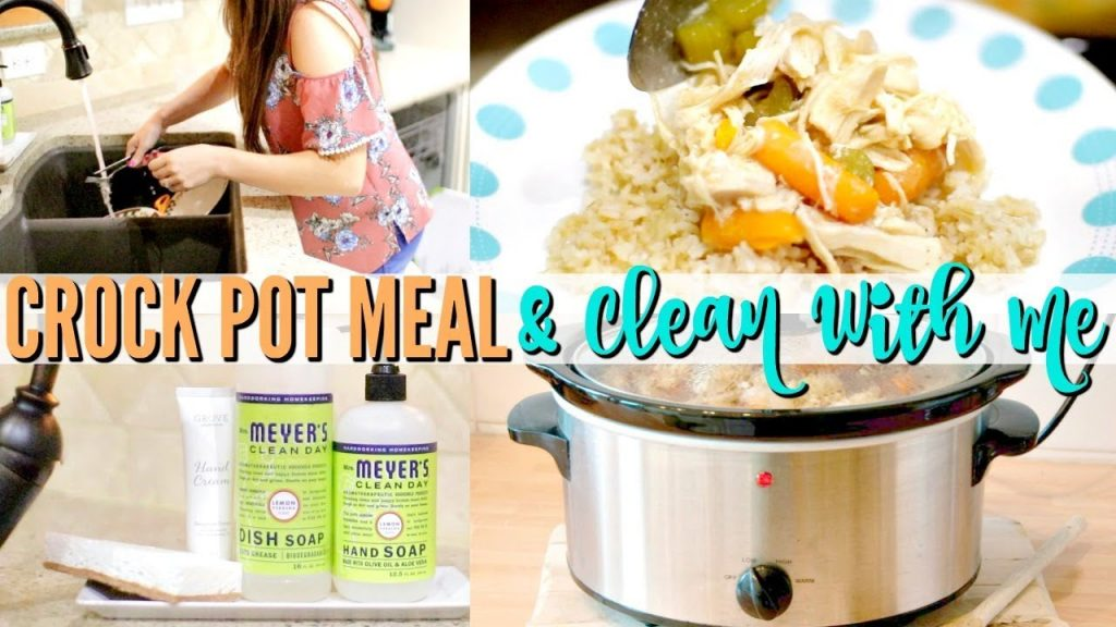 CROCK POT CHICKEN RECIPE & CLEAN WITH ME | CLEANING MY KITCHEN | Love Meg