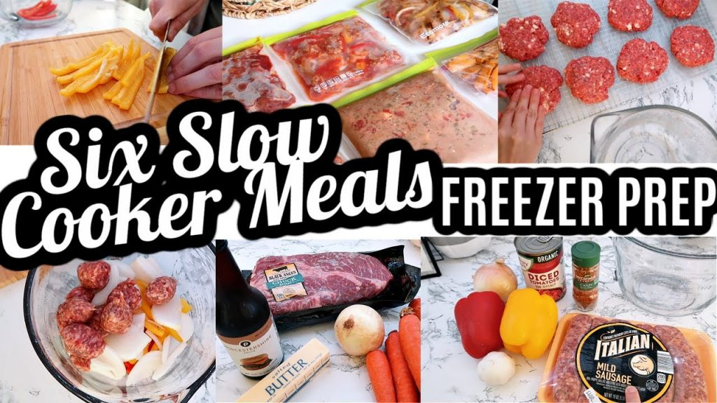 EASY FREEZER PREP SIX SLOW COOKER CROCKPOT DUMP AND GO MEALS | COOK WITH ME | MEAL PREP WITH ME